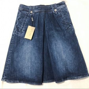Pleat front Jeans skirt